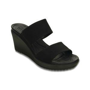 Crocs Leigh II 2 Strap Wedge Sandal in Black